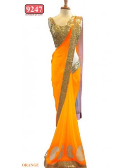 Bollywood Replica- Designer Orange Colour Net Fancy Party Wear Saree-9247-F(SIA-S-9200)