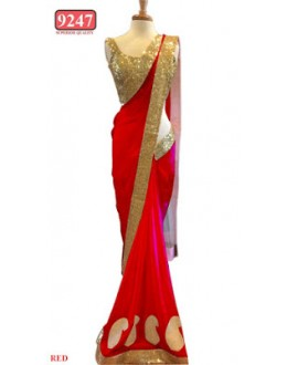 Bollywood Replica- Designer Red Colour Net Fancy Party Wear Saree-9247-H(SIA-S-9200)