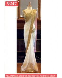 Bollywood Replica- Designer White Net Fancy Party Wear Saree-9247(SIA-S-9200)