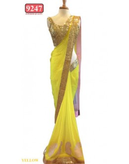 Bollywood Replica- Designer Yellow Colour Net Fancy Party Wear Saree-9247-I(SIA-S-9200)