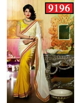 Bollywood Replica-Jacqueline Fernandez Designer Yellow & Off-White Georgette Party Wear Saree-9196( SIA -S-9200 )