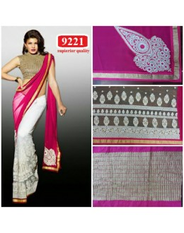 Bollywood Replica - Jacqueline Fernandez Off-white and Magenta Color Georgette Saree-9221-A(SIA-S-9200)