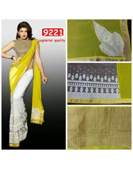 Bollywood Replica - Jacqueline Fernandez Off-white and Yellow Color Georgette Saree-9221(SIA-9200)