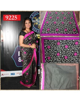 Bollywood Replica - Lara Dutta Designer Black Printed Georgette Party Wear Saree-9225(SIA-S-9200)
