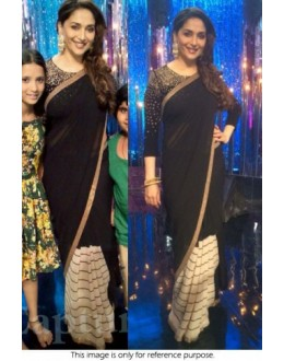 Bollywood Replica-Madhuri Dixit Designer Black Georgette Party Wear Saree-9213( SIA -S-9200 )