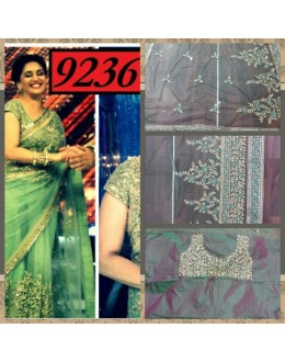 Bollywood Replica- Madhuri Dixit Designer Mehendi Green Net Embroidered Party Wear Saree-9236(SIA-S-9200)