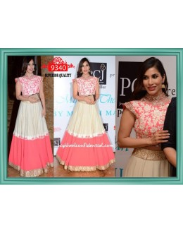 Bollywood Replica-Sophie Chaudhary Designer Pink & Cream Embroidered Pure Georgette Lehenga-9340( SIA-9200 )