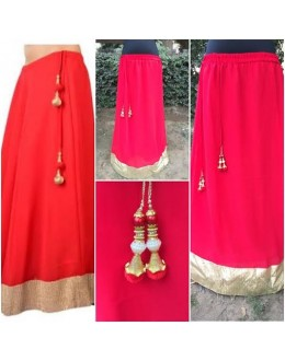 Bollywood Replica-Designer Fancy Red Georgette Party Wear Long Skirt With Tassel - 93 ( SIA )