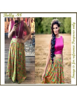 Bollywood Replica-Designer Floral Printed Skirt With Banglori Silk Top - Bolly-98 ( NIRNX )