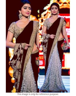 Bollywood Replica - Shriya Saran Designer Brown Half & Half Party Wear Saree-94-A( SIA )