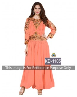 Bollywood Replica-Designer Orange Georgette Embroidered Party Wear Dress - KD-1105 ( SIA-KD )