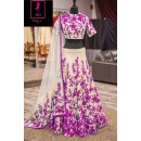 Bollywood Replica -  Wedding Wear Cream & Purple  Bhagalpuri Silk Lehenga Choli  - Neerja05