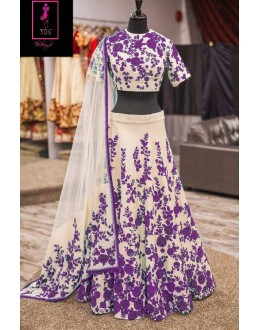 Bollywood Replica -  Wedding Wear Cream & Violet  Bhagalpuri Silk Lehenga Choli  - Neerja03