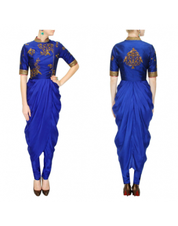 Bollywood Replica -Designer Ivory Georgette Drape Blue Party Wear Salwar Kameez- S135-A ( SIA-S-Series )