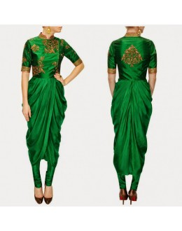 Bollywood Replica -Designer Ivory Georgette Drape Green Party Wear Salwar Kameez- S135-B ( SIA-S-Series )