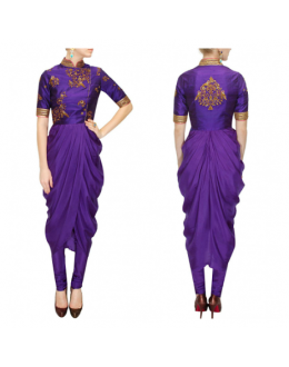 Bollywood Replica -Designer Ivory Georgette Drape Purple Party Wear Salwar Kameez- S135-C ( SIA-S-Series )
