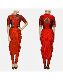 Bollywood Replica -Designer Ivory Georgette Drape Red Party Wear Salwar Kameez- S135-D ( SIA-S-Series )