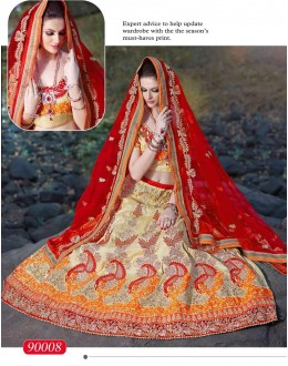 Ethnic Wear Banglori Silk Cream Lehenga Choli - 90008