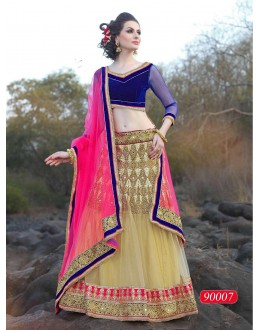 Ethnic Wear Net Cream Lehenga Choli - 90007