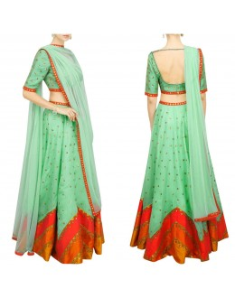 Bollywood Replica - Designer Aqua Colour Raw Silk Lehenga Choli - S1021
