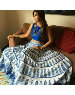 Bollywood Replica - Shilpa Shetty In Designer Blue Crop Top Lehenga - 1112