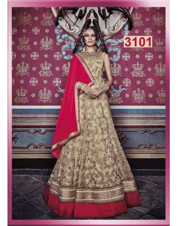 Bollywood Replica - Wedding Wear Heavy Work Beige &  Red Anarkali Suit - 3101