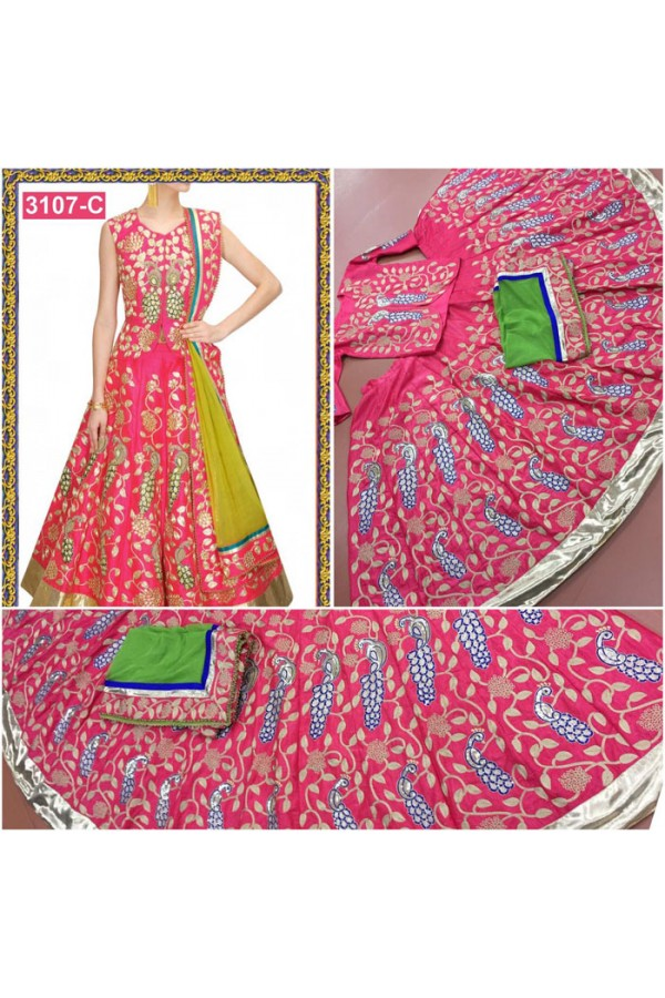 Bollywood Replica - Wedding Wear Gajri Pink Embroidered Lehenga Choli - 3107-C