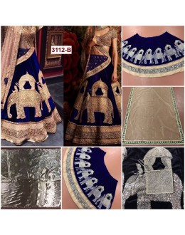 Bollywood Replica - Bridal Wear Blue Viscose Velvet Lehenga Choli - 3112-B
