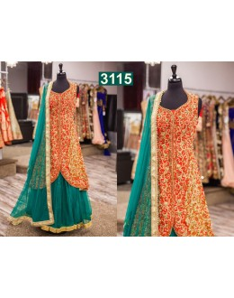 Bollywood Inspired  - Wedding Wear Red & Rama Colour Lehenga Suit  - 3115