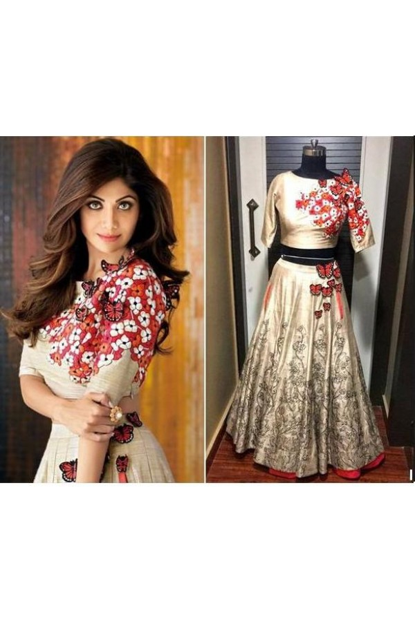 Bollywood Replica - Shilpa Shetty In Designer Beige Silk Lehenga Choli - 37