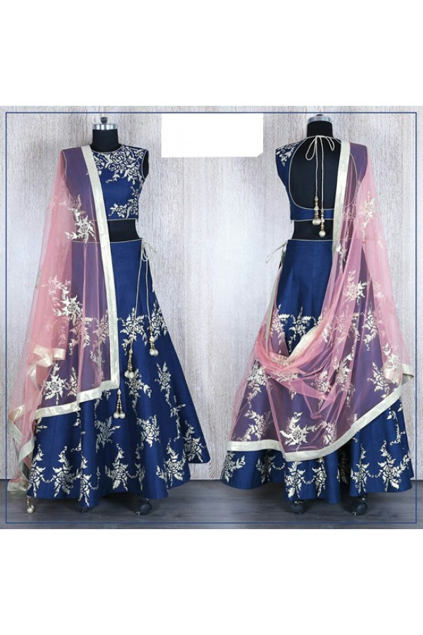 Bollywood Replica - Wedding Wear Blue & Pink Silk Lehenga Choli - 58