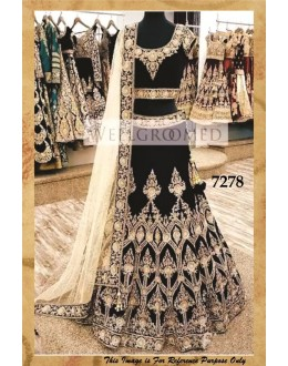 Bollywood Replica - Wedding Wear Black Pure Velvet Lehenga Choli - 7278