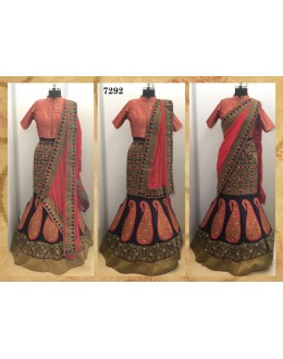 Bollywood Replica -  Wedding Wear Peach & Black Lehenga  - 7292