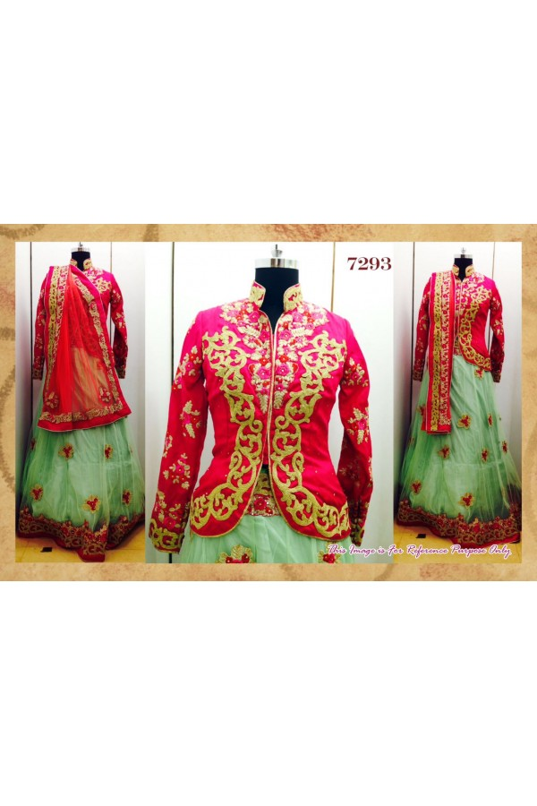 Bollywood Replica - Designer Pink & Pista Green Embroidered Lehenga Choli - 7293