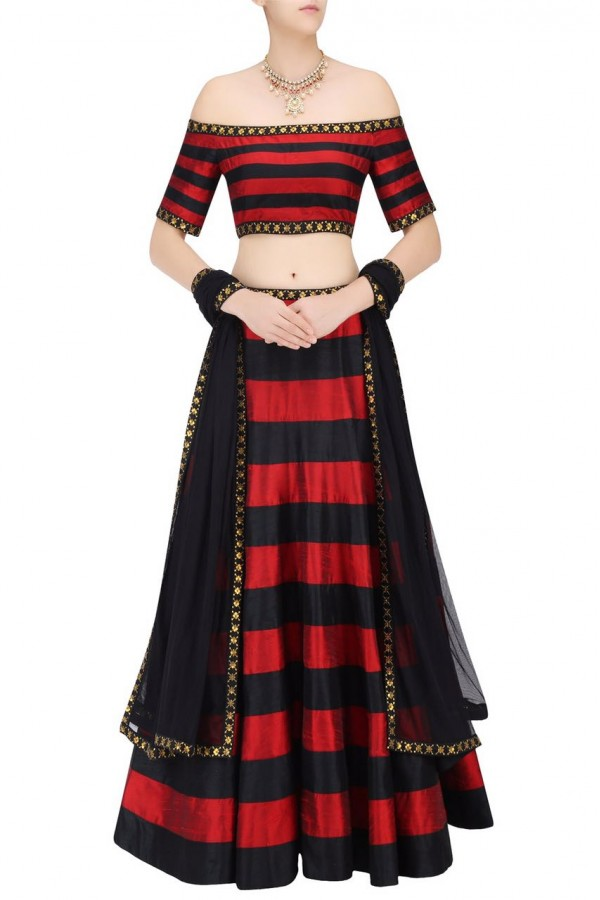Bollywood Replica - Party Wear Red & Black Silk Lehenga Choli - 7295