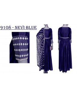Bollywood Replica - Wedding Wear Navy blue Banglori Silk Anarkali Dress - 9108-Navy Blue