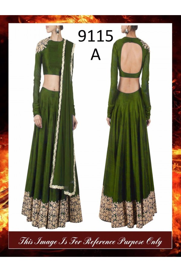 Bollywood Replica - Wedding Wear Mehendi Green Raw Silk Lehenga Choli - 9115-A