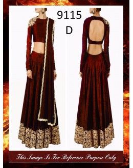 Bollywood Replica - Wedding Wear Maroon Raw Silk Lehenga Choli - 9115-D