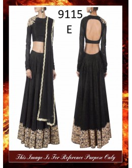 Bollywood Replica - Wedding Wear Black Raw Silk Lehenga Choli - 9115-E