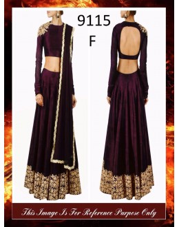 Bollywood Replica - Wedding Wear Wine Colour Raw Silk Lehenga Choli - 9115-F