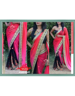 Bollywood Replica - Wedding Wear Pink & Black Georgette Saree - 9688