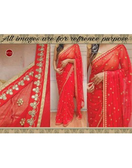 Bollywood Replica - Wedding Wear Red Georgette Saree - 9725