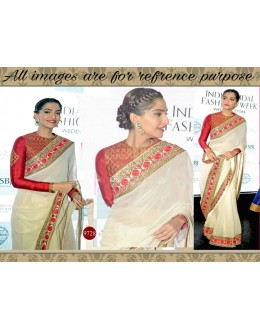 Bollywood Replica - Sonam Kapoor In Designer Off-White & Red Saree - 9728