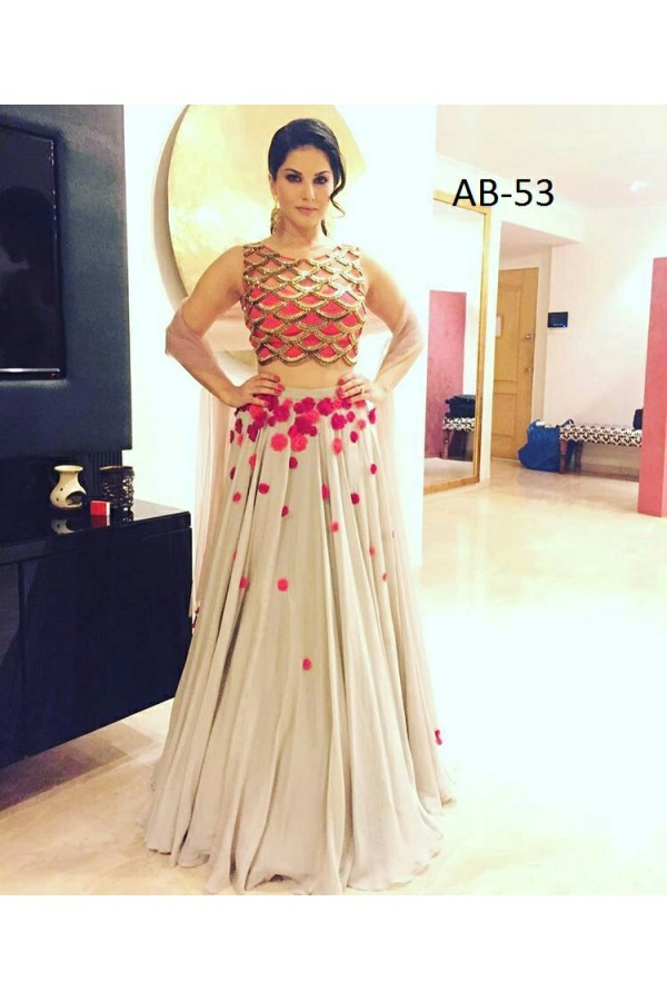Bollywood Replica - Sunny Leone In Designer Cream Lehenga Choli - AB-53