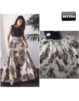 Bollywood Replica - Fancy Black & Off-White Silk Crop Top Lehenga - AFC1101