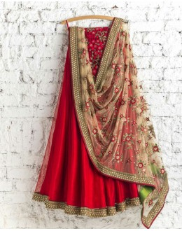 Bollywood Replica - Wedding Wear Red Net Lehenga Choli - AFC1102
