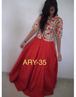 Bollywood Style - Party Wear Red Embroidered Skirt With Top - ARY-35