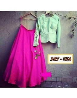 Bollywood Style - Fancy Green & Pink Lehenga Choli - ARY-54