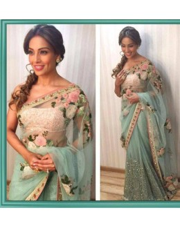 Bollywood Inspired - Bipasha Basu In Designer Green Net Saree  - B1
