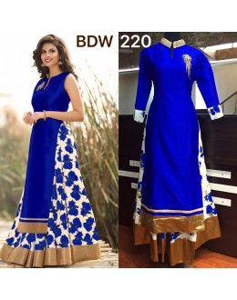 Bollywood Replica - Wedding Wear Floral Royal Blue One-Piece Gown - BWD220-3